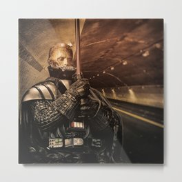 Man Holding Pipe In Tunnel Metal Print