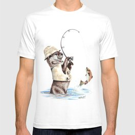 """ Natures Fisherman "" fishing river otter with trout T-shirt"