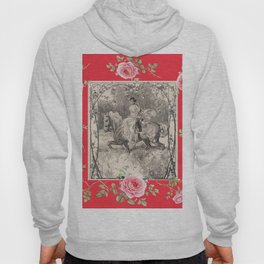 Girl riding horse in the rose garden - Romantic scene Hoody