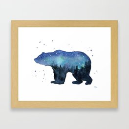 Forest Bear Silhouette Watercolor Galaxy Framed Art Print