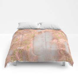Rose Gold Marble with Yellow Gold Glitter Comforters