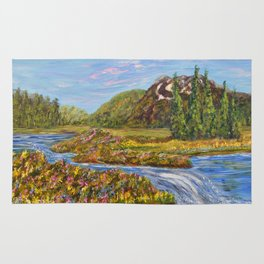 Meadow of Tranquility, Impressionism Landscape Rug