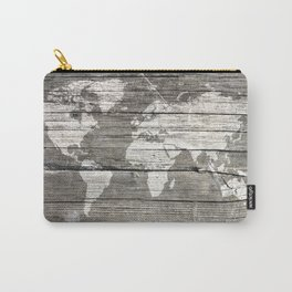 world map wood 1 Carry-All Pouch