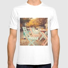 Dream Autumn (Pink and blue coffee shop chairs on retro and vintage fall) Mens Fitted Tee White MEDIUM