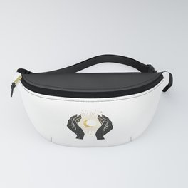 Gold La Lune In Hands Fanny Pack