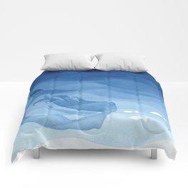Mermaid, watercolor, blue, fish Comforters
