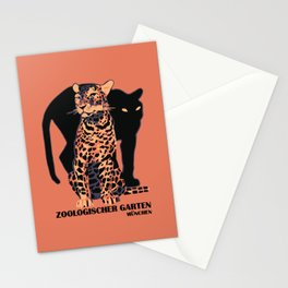 Retro vintage Munich Zoo big cats Stationery Cards