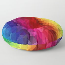 Rainbow Polygons Floor Pillow