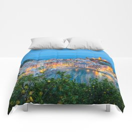 VERNAZZA ITALY AT NIGHT CINQUE TERRE ITALIAN SEASIDE TOWN Comforters
