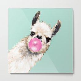 Bubble Gum Sneaky Llama in Green Metal Print