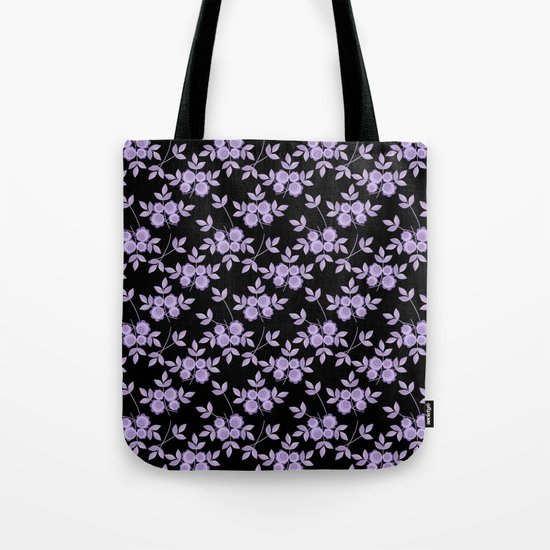 Retro . purple flowers on a black background . Tote Bag