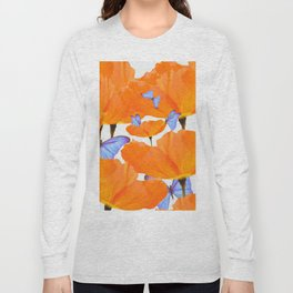 Poppies And Butterflies White Background #decor #society6 #buyart Long Sleeve T-shirt