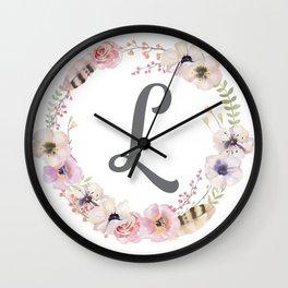 Floral Wreath - L Wall Clock