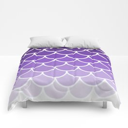 Ombre Fish Scale In Grape Comforters