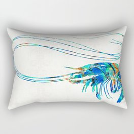 Blue Shrimp Art by Sharon Cummings Rectangular Pillow