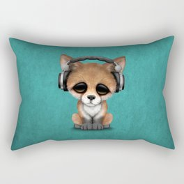 Cute Red Fox Cub Dj Wearing Headphones on Blue Rectangular Pillow