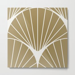 Diamond Series Round Sun Burst White on Gold Metal Print