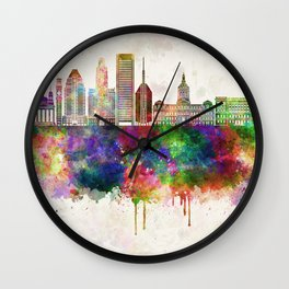Baltimore V2 skyline in watercolor background Wall Clock