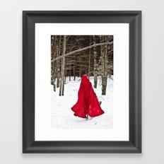 Little Red Riding Hood Runs Through The Woods In Winter Framed Art Print
