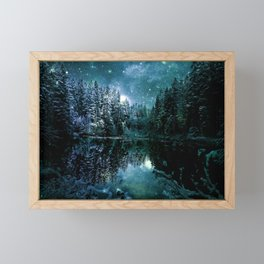 Winter Wonderland Forest Green Teal : A Cold Winter's Night Framed Mini Art Print