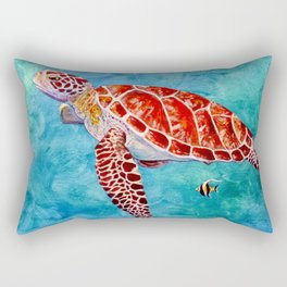 Sea turtle and friend Rectangular Pillow