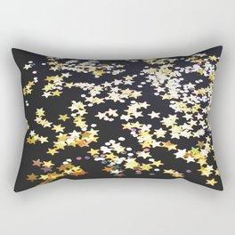 Glitter Silver Gold Yellow Twinkle Stars Rectangular Pillow