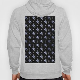 Purple Flowers on Black Background Hoody