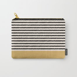 Texture - Black Stripes Gold Carry-All Pouch