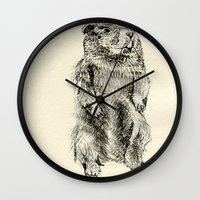 beaver Wall Clocks featuring Beaver by Amy Veried