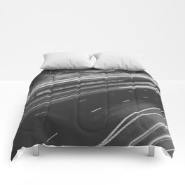 Seattle at Night - Black and White Comforters