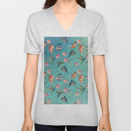 Vintage Watercolor hummingbirds and fuchsia flowers Unisex V-Neck