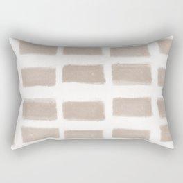 Brush Strokes Horizontal Lines Nude on Off White Rectangular Pillow