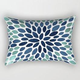 Flower Bloom, Aqua and Navy Rectangular Pillow