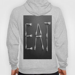 EAT alphabet with plastic forks in black and white Hoody