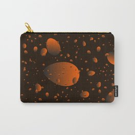 Large brown drops and petals on a dark background in nacre. Carry-All Pouch