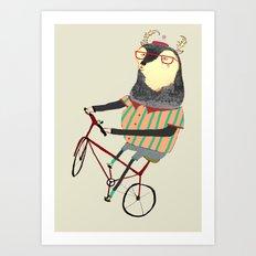 Deer on Bike.  Art Print