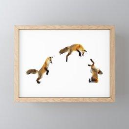 Fox Snow Jump Framed Mini Art Print
