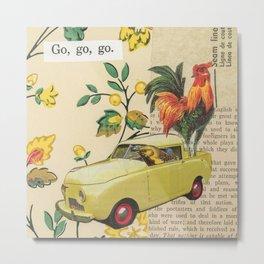 Go, Go, Go - Vintage Collage Metal Print