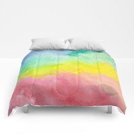 Pastel Rainbow Blur Watercolor Clouds Comforters