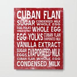 Cuban Flan Word Food Art Poster (Red) Metal Print