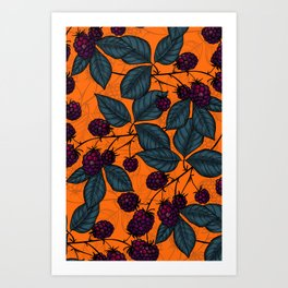 Blackberry hand- drawn pattern Art Print