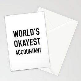 WORLD'S OKAYEST ACCOUNTANT Black Typography Stationery Cards