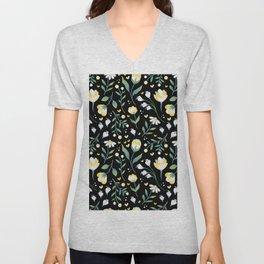 Colourscape Summer Floral Pattern Black Unisex V-Neck