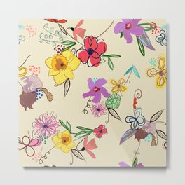 Cute Hand Drawn Vibrant Colored Hibiscus, Iris and Narcissi Flower Pattern Metal Print
