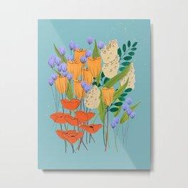 Blue and Orange Flower Bouquet Metal Print