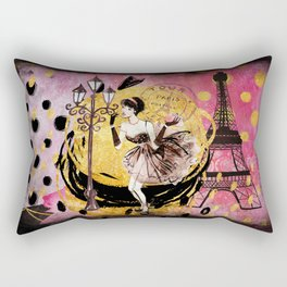 Beautiful fashion girl in Paris - Shopping at the Eiffel Tower Rectangular Pillow