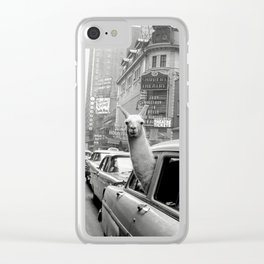 Llama Riding in Taxi, Black and White Vintage Print Clear iPhone Case