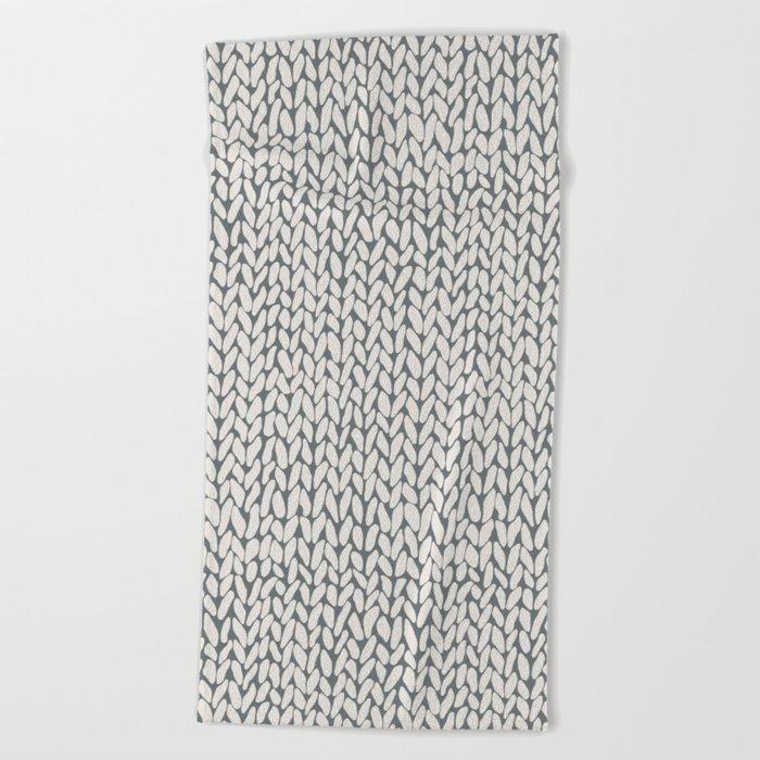 Hand Knit Grey Beach Towel