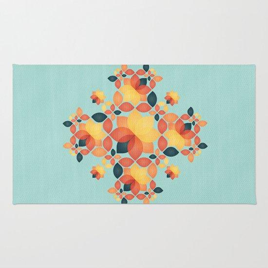 Orange Garden Pattern Rug