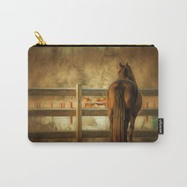 Horse Along a Fence in Snow in Winter. Golden Age Painting Style. Carry-All Pouch